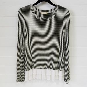 Altar'd State | Striped Top With Ruffled Hem